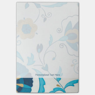 Gilded Indigo Flowers with White Background Post-it Notes