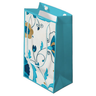 Gilded Indigo Flowers with White Background Small Gift Bag