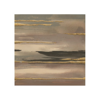 Gilded Morning Fog II Gold Abstract Print