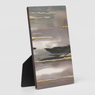 Gilded Morning Fog II Gold Abstract Print Display Plaque
