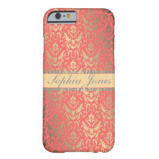 Gilded Peach Elegant Faux Shimmer Damask Barely There iPhone 6 Case