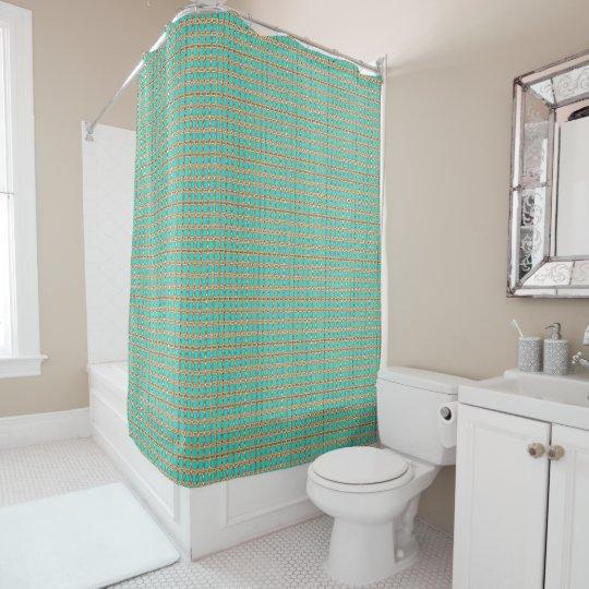 Gilded Peacock Fabric's(c)Deep-Aqua-Treasure* Shower Curtain