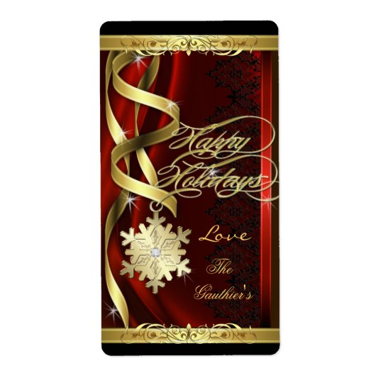 Gilded Red Snowflake Dreams Holiday Wine Label Shipping Label