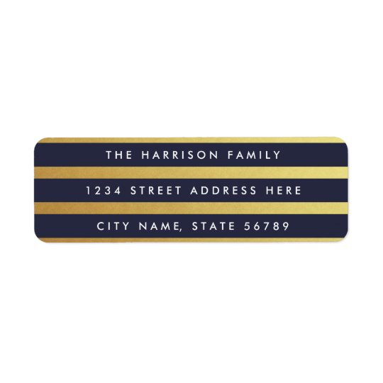Gilded Stripes Custom Colour Return Address Labels