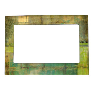 Gilded Turquoise and Green Abstract Painting Magnetic Frames