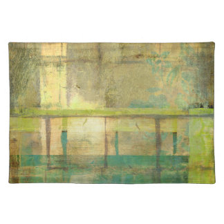 Gilded Turquoise and Green Abstract Painting Placemat