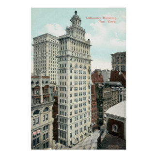 Gillender Skyscraper, New York City c1905 Vintage Poster