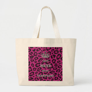 Gilry chic Save water drink champagne white Large Tote Bag