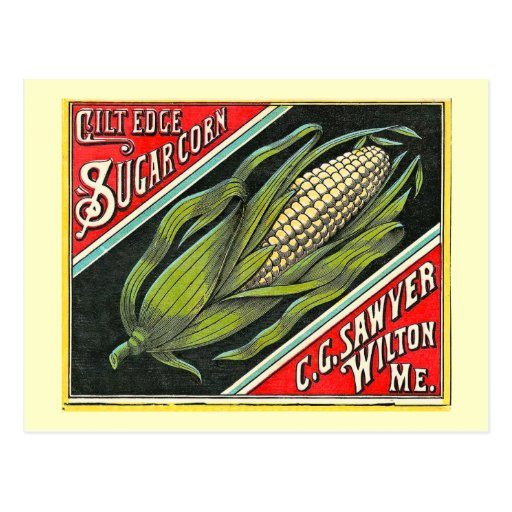 Gilt Edge Sugar Corn Vintage Crate Label Post Cards