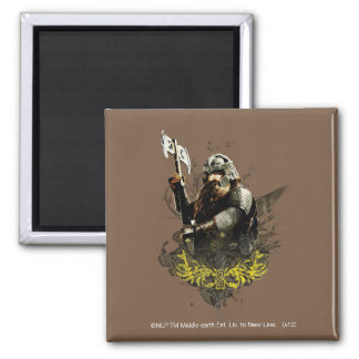 Gimli With Ax Vector Collage Square Magnet