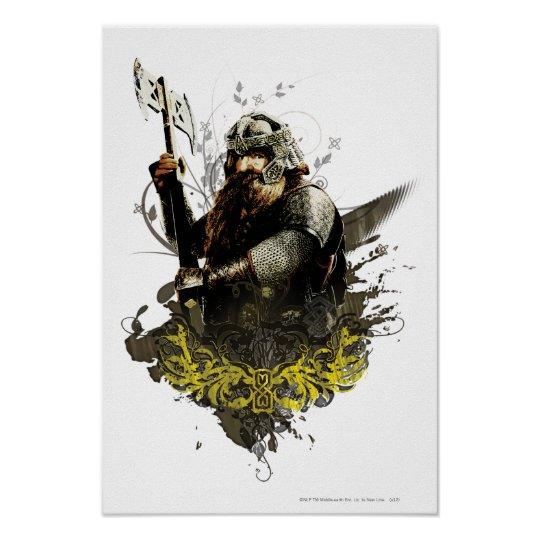 Gimli With Axe Vector Collage Poster