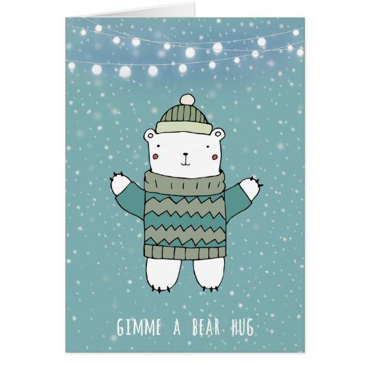 gimme a bear hug christmas holiday card