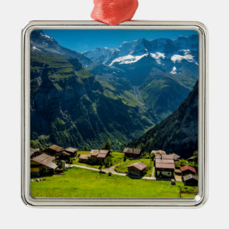 Gimmelwald In Swiss Alps - Switzerland Silver-Colored Square Decoration