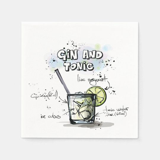 Gin and Tonic Drink Recipe Cocktail Napkin Disposable