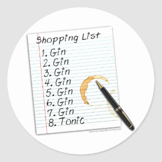 GIN LOVERS SHOPPING LIST CLASSIC ROUND STICKER