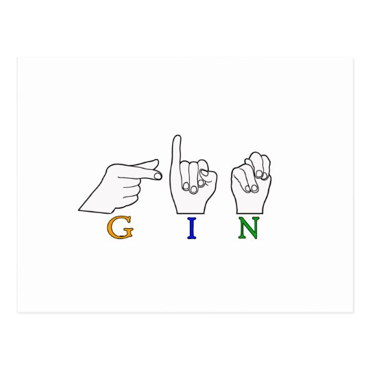 GIN NAME ASL FINGER SPELLED FEMALE POSTCARD
