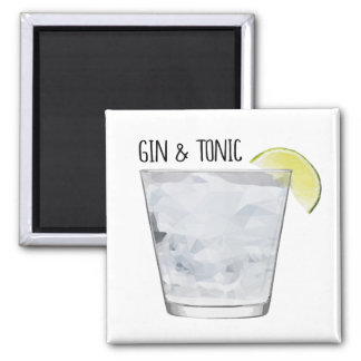 """Gin & Tonic"" Magnet for Bar Kitchen Geometric Art"