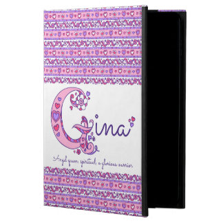 Gina letter G heart and flowers art ipad case