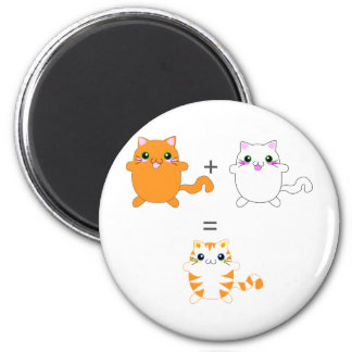 Ginger and white cats funny 6 cm round magnet