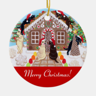 Ginger Bread House Labradors Painting Christmas Ornament