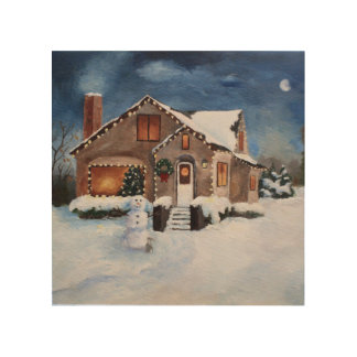 Ginger Bread House Wood Canvas