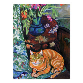 Ginger Cat and Bouquet of Flowers by Valadon Postcard