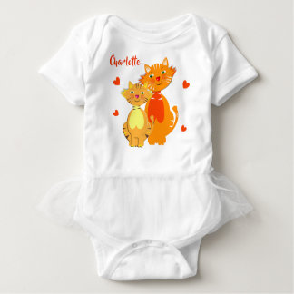 Ginger Cat and Kitten Super Cute Personalized Baby Bodysuit