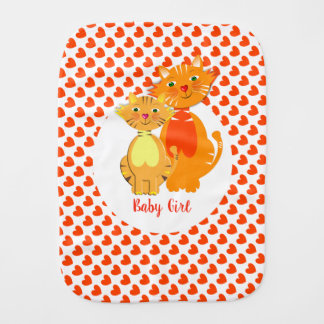 Ginger Cat and Kitten Super Cute Personalized Burp Cloth