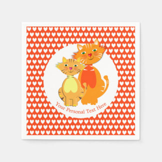 Ginger Cat and Kitten Super Cute Personalized Disposable Serviettes
