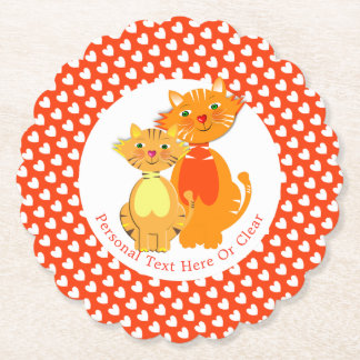 Ginger Cat and Kitten Super Cute Personalized Paper Coaster
