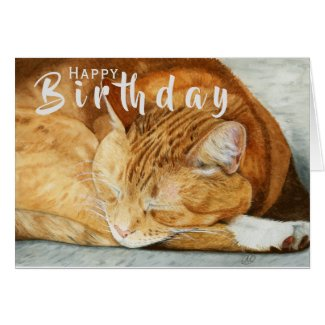 Ginger Cat | Cat Lover Birthday Folded Card
