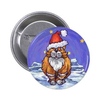 Ginger Cat Christmas 6 Cm Round Badge