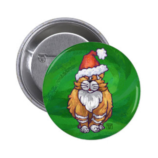 Ginger Cat Christmas On Green 6 Cm Round Badge