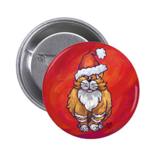 Ginger Cat Christmas On Red 6 Cm Round Badge