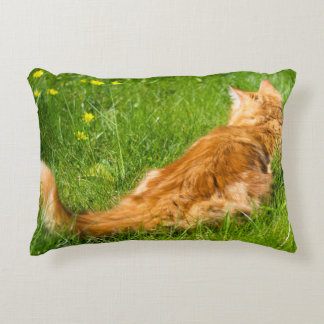 Ginger Cat In The Springtime Decorative Cushion