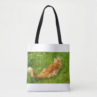 Ginger Cat In The Springtime Tote Bag
