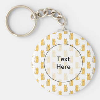 Ginger Cat Pattern. Basic Round Button Key Ring