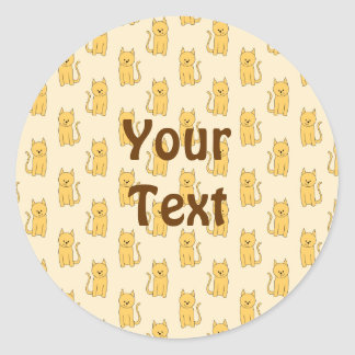 Ginger Cat Pattern. Classic Round Sticker