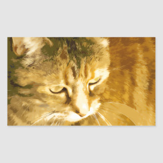 Ginger cat rectangular sticker