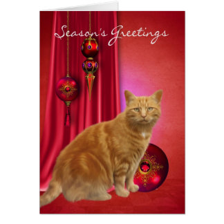 ginger cat season's greeting card with ornaments