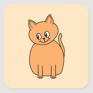 Ginger Cat. Square Sticker