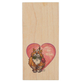Ginger Cat Valentine's Day Wood USB 2.0 Flash Drive