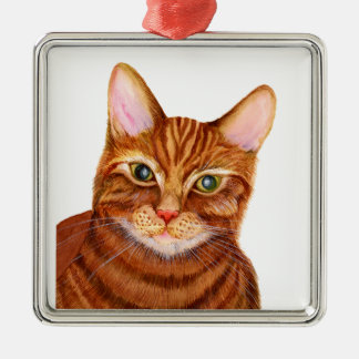 Ginger Cat Watercolour Artwork Painting Christmas Ornament