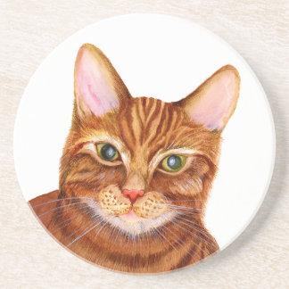 Ginger Cat Watercolour Artwork Painting Coaster