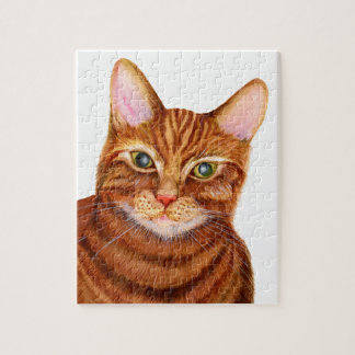 Ginger Cat Watercolour Artwork Painting Jigsaw Puzzle