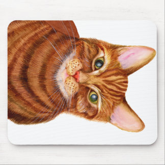 Ginger Cat Watercolour Artwork Painting Mouse Pad