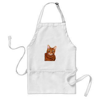 Ginger Cat Watercolour Artwork Painting Standard Apron