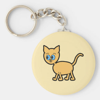 Ginger Cat with Blue Eyes. Basic Round Button Key Ring