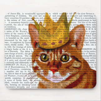 Ginger Cat with Crown Portrai Mouse Pad