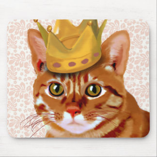 Ginger Cat with Crown Portrait Mouse Pad